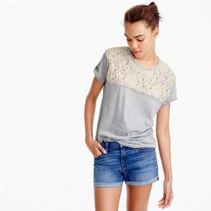 Lace T Shirt - pattern: plain; bust detail: sheer at bust; style: t-shirt; secondary colour: ivory/cream; predominant colour: light grey; occasions: casual; length: standard; fibres: cotton - 100%; fit: body skimming; neckline: crew; sleeve length: short sleeve; sleeve style: standard; pattern type: fabric; texture group: jersey - stretchy/drapey; embellishment: lace; multicoloured: multicoloured; season: s/s 2016; wardrobe: highlight