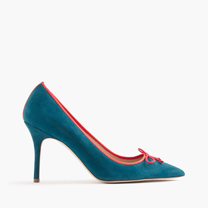 Elsie Suede Pumps With Contrast Trim - predominant colour: teal; occasions: evening, occasion, creative work; material: suede; heel: stiletto; toe: pointed toe; style: courts; finish: plain; pattern: plain; embellishment: bow; heel height: very high; season: s/s 2016; wardrobe: highlight