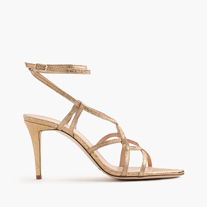 Metallic Cross Strap Sandals - predominant colour: stone; occasions: evening, occasion; material: leather; heel height: high; ankle detail: ankle strap; heel: stiletto; toe: toe thongs; style: strappy; finish: plain; pattern: plain; season: s/s 2016