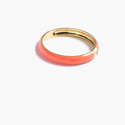 Round Enamel Clamp Bracelet - predominant colour: coral; secondary colour: gold; occasions: casual, creative work; style: bangle/standard; size: standard; material: chain/metal; finish: plain; season: s/s 2016; wardrobe: highlight