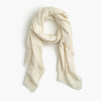 Speckled Scarf - predominant colour: ivory/cream; occasions: casual; type of pattern: standard; style: regular; size: standard; material: fabric; pattern: plain; season: s/s 2016; wardrobe: basic