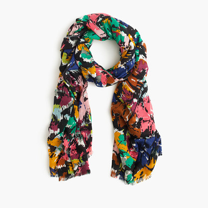Scarf In Colorful Brushstroke Print - secondary colour: pink; predominant colour: navy; occasions: casual, creative work; type of pattern: heavy; style: regular; size: standard; material: fabric; pattern: patterned/print; multicoloured: multicoloured; season: s/s 2016; wardrobe: highlight