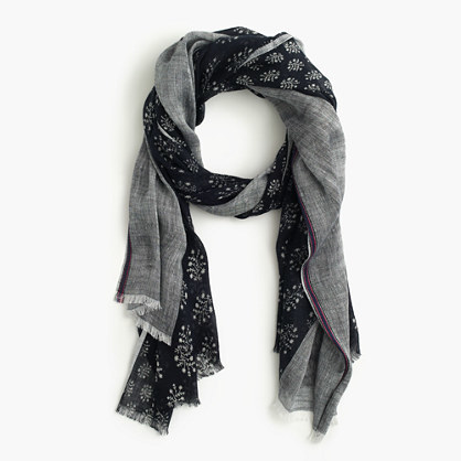 Mixed Fern Printed Scarf - predominant colour: mid grey; secondary colour: black; occasions: casual, creative work; type of pattern: light; style: regular; size: standard; material: fabric; pattern: patterned/print; season: s/s 2016; wardrobe: highlight