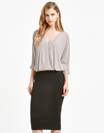 Basic Jersey Midi Skirt - pattern: plain; style: pencil; fit: tight; waist detail: fitted waist; waist: mid/regular rise; predominant colour: black; occasions: evening; length: on the knee; fibres: viscose/rayon - stretch; texture group: jersey - clingy; pattern type: fabric; season: s/s 2016; wardrobe: event