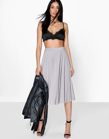 Pleated Slinky Midi Skirt - length: below the knee; pattern: plain; fit: loose/voluminous; style: pleated; waist: high rise; predominant colour: light grey; occasions: work, occasion; fibres: polyester/polyamide - stretch; pattern type: fabric; texture group: other - light to midweight; season: s/s 2016; wardrobe: basic
