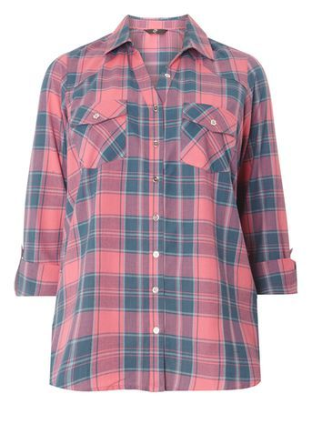 Pink Check Shirt - neckline: shirt collar/peter pan/zip with opening; pattern: checked/gingham; style: shirt; predominant colour: pink; secondary colour: denim; occasions: casual; length: standard; fibres: cotton - 100%; fit: body skimming; sleeve length: long sleeve; sleeve style: standard; pattern type: fabric; pattern size: standard; texture group: jersey - stretchy/drapey; multicoloured: multicoloured; season: s/s 2016; wardrobe: highlight
