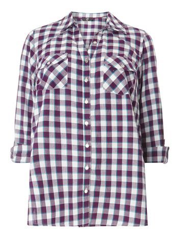 Purple Pear Fit Check Shirt - neckline: shirt collar/peter pan/zip with opening; pattern: checked/gingham; style: shirt; secondary colour: white; predominant colour: purple; occasions: casual, creative work; length: standard; fibres: cotton - 100%; fit: body skimming; sleeve length: long sleeve; sleeve style: standard; texture group: cotton feel fabrics; pattern type: fabric; pattern size: standard; multicoloured: multicoloured; season: s/s 2016