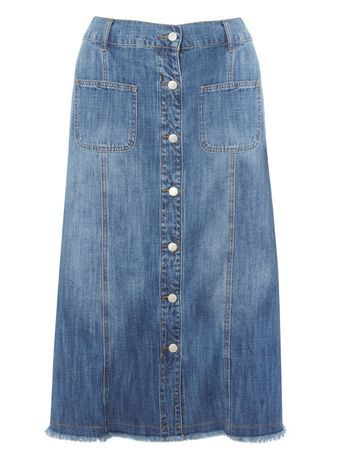 Raw Hem Denim Midi Skirt - length: below the knee; pattern: plain; fit: loose/voluminous; waist: high rise; predominant colour: denim; occasions: casual, creative work; style: a-line; fibres: cotton - 100%; texture group: denim; pattern type: fabric; season: s/s 2016; wardrobe: basic