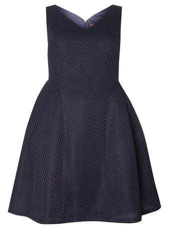 Navy Lace Dress - neckline: v-neck; pattern: plain; sleeve style: sleeveless; waist detail: fitted waist; predominant colour: navy; occasions: evening, occasion; length: just above the knee; fit: fitted at waist & bust; style: fit & flare; fibres: polyester/polyamide - 100%; hip detail: subtle/flattering hip detail; sleeve length: sleeveless; pattern type: fabric; texture group: other - light to midweight; embellishment: lace; season: s/s 2016; wardrobe: event