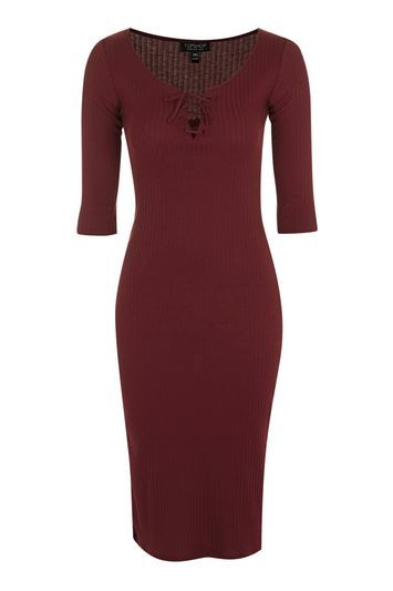 Lace Up Midi Bodycon Dress - neckline: low v-neck; fit: tight; pattern: plain; style: bodycon; predominant colour: burgundy; occasions: casual, evening, creative work; length: just above the knee; fibres: cotton - mix; sleeve length: 3/4 length; sleeve style: standard; texture group: jersey - clingy; pattern type: knitted - fine stitch; trends: glossy girl, rebel girl; season: s/s 2016; wardrobe: highlight