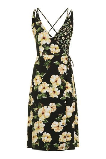 Garden Floral Wrap Slip Dress - style: faux wrap/wrap; neckline: low v-neck; sleeve style: sleeveless; waist detail: belted waist/tie at waist/drawstring; predominant colour: primrose yellow; secondary colour: black; occasions: casual, evening; length: on the knee; fit: body skimming; fibres: viscose/rayon - 100%; sleeve length: sleeveless; pattern type: fabric; pattern: florals; texture group: other - light to midweight; trends: fashion girl, pretty girl; season: s/s 2016; wardrobe: highlight