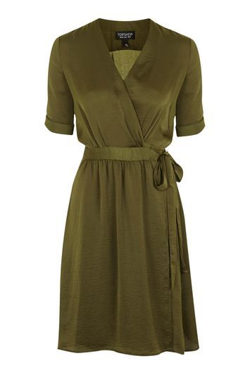 Crushed Satin Wrap Dress - style: faux wrap/wrap; length: below the knee; neckline: v-neck; fit: fitted at waist; pattern: plain; waist detail: belted waist/tie at waist/drawstring; predominant colour: khaki; occasions: work, creative work; fibres: polyester/polyamide - 100%; sleeve length: short sleeve; sleeve style: standard; texture group: structured shiny - satin/tafetta/silk etc.; pattern type: fabric; trends: chic girl; season: s/s 2016; wardrobe: highlight