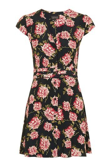 Romantic Bloom Tea Dress - style: tea dress; neckline: round neck; sleeve style: capped; fit: fitted at waist; predominant colour: pink; occasions: casual, creative work; length: just above the knee; fibres: viscose/rayon - 100%; sleeve length: short sleeve; pattern type: fabric; pattern size: big & busy; pattern: florals; texture group: other - light to midweight; multicoloured: multicoloured; trends: pretty girl; season: s/s 2016; wardrobe: highlight