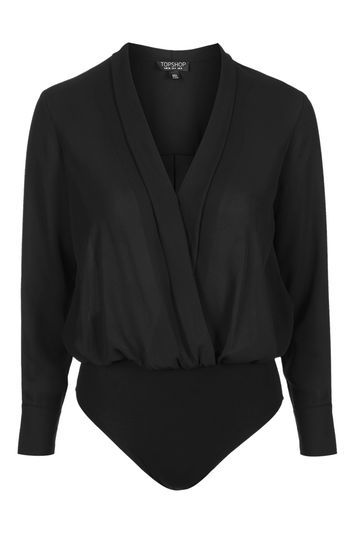 Long Sleeve Drape Body - neckline: v-neck; pattern: plain; predominant colour: black; occasions: evening; length: standard; fibres: polyester/polyamide - 100%; fit: loose; sleeve length: long sleeve; sleeve style: standard; pattern type: fabric; texture group: jersey - stretchy/drapey; style: bodysuit; trends: chic girl, glossy girl, rebel girl; season: s/s 2016; wardrobe: event