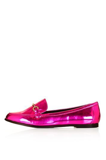 Lucy Loafer Shoes - predominant colour: hot pink; occasions: casual, creative work; material: faux leather; heel height: flat; embellishment: snaffles; toe: round toe; style: loafers; finish: metallic; pattern: plain; season: s/s 2016; wardrobe: highlight; trends: metallics