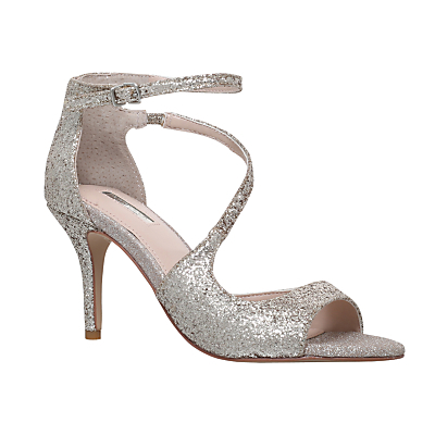 Gamma Asymmetric Embellished Stiletto Sandals - predominant colour: silver; occasions: evening, occasion; material: faux leather; heel height: high; embellishment: crystals/glass; ankle detail: ankle strap; heel: stiletto; toe: open toe/peeptoe; style: standard; finish: metallic; pattern: plain; season: s/s 2015; wardrobe: event