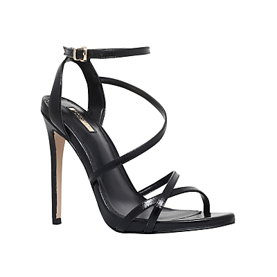 Georgia Leather Stiletto Strappy Sandals - predominant colour: black; occasions: evening, occasion; material: leather; ankle detail: ankle strap; heel: stiletto; toe: open toe/peeptoe; style: strappy; finish: plain; pattern: plain; heel height: very high; season: s/s 2015; wardrobe: event
