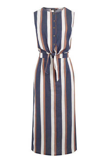Stripe Tie Front Dress - style: shift; length: calf length; pattern: vertical stripes; sleeve style: sleeveless; waist detail: belted waist/tie at waist/drawstring; secondary colour: white; predominant colour: denim; occasions: casual; fit: body skimming; neckline: crew; sleeve length: sleeveless; pattern type: fabric; texture group: woven light midweight; fibres: viscose/rayon - mix; multicoloured: multicoloured; season: s/s 2016; wardrobe: highlight