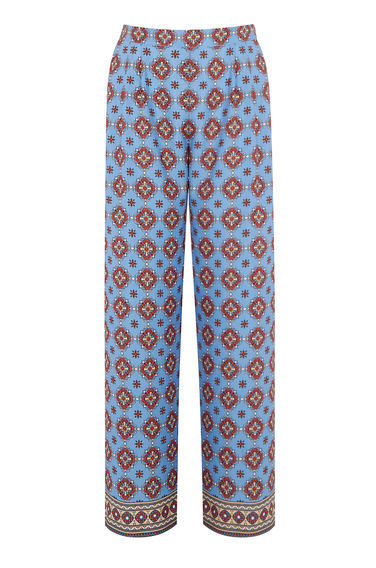 Tile Print Trousers - length: standard; waist: high rise; predominant colour: pale blue; secondary colour: terracotta; occasions: casual; fibres: polyester/polyamide - 100%; texture group: crepes; fit: straight leg; pattern type: fabric; pattern: patterned/print; style: standard; season: s/s 2016; wardrobe: highlight