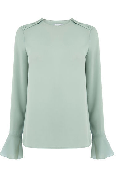Button Shoulder Top - sleeve style: bell sleeve; pattern: plain; predominant colour: pistachio; occasions: casual; length: standard; style: top; fibres: polyester/polyamide - 100%; fit: body skimming; neckline: crew; sleeve length: long sleeve; pattern type: fabric; texture group: woven light midweight; season: s/s 2016; wardrobe: highlight