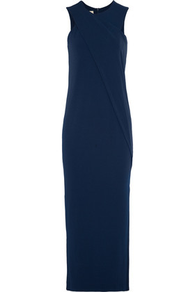 Allianda Draped Stretch Jersey Maxi Dress Navy - pattern: plain; sleeve style: sleeveless; style: maxi dress; back detail: low cut/open back; predominant colour: navy; occasions: evening; length: floor length; fit: body skimming; fibres: polyester/polyamide - stretch; neckline: crew; sleeve length: sleeveless; pattern type: fabric; texture group: jersey - stretchy/drapey; season: s/s 2016; wardrobe: event