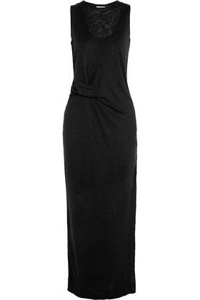 Namilla Gathered Linen Maxi Dress Black - pattern: plain; sleeve style: sleeveless; style: maxi dress; length: ankle length; predominant colour: black; occasions: casual; fit: body skimming; fibres: linen - 100%; neckline: crew; sleeve length: sleeveless; texture group: linen; pattern type: fabric; season: s/s 2016; wardrobe: basic