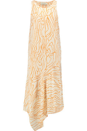 Giselona Printed Silk Crepe De Chine Dress Orange - length: calf length; sleeve style: sleeveless; predominant colour: white; secondary colour: bright orange; occasions: evening; fit: body skimming; style: asymmetric (hem); fibres: silk - 100%; neckline: crew; sleeve length: sleeveless; texture group: silky - light; pattern type: fabric; pattern: patterned/print; multicoloured: multicoloured; season: s/s 2016; wardrobe: event