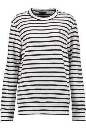 Striped Cotton Jersey Top White - pattern: horizontal stripes; style: t-shirt; predominant colour: white; secondary colour: black; occasions: casual; length: standard; fibres: cotton - 100%; fit: body skimming; neckline: crew; sleeve length: long sleeve; sleeve style: standard; pattern type: fabric; texture group: jersey - stretchy/drapey; multicoloured: multicoloured; season: s/s 2016; wardrobe: basic