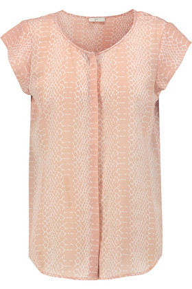Iva Snake Print Washed Silk Top Blush - neckline: round neck; sleeve style: capped; length: below the bottom; style: blouse; secondary colour: ivory/cream; predominant colour: coral; occasions: casual, creative work; fibres: silk - 100%; fit: straight cut; sleeve length: short sleeve; texture group: silky - light; pattern type: fabric; pattern size: standard; pattern: animal print; season: s/s 2016; wardrobe: highlight