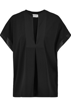 Verzalio Silk Trimmed Stretch Crepe Top Black - pattern: plain; predominant colour: black; occasions: casual, creative work; length: standard; style: top; neckline: collarstand & mandarin with v-neck; fibres: polyester/polyamide - stretch; fit: body skimming; sleeve length: short sleeve; sleeve style: standard; texture group: crepes; pattern type: fabric; season: s/s 2016; wardrobe: basic