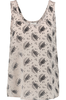 Annabeth Printed Silk Crepe De Chine Top Ecru - sleeve style: standard vest straps/shoulder straps; length: below the bottom; style: vest top; back detail: back revealing; predominant colour: light grey; secondary colour: black; occasions: casual; neckline: scoop; fibres: silk - 100%; fit: straight cut; sleeve length: sleeveless; texture group: silky - light; pattern type: fabric; pattern size: standard; pattern: patterned/print; season: s/s 2016; wardrobe: highlight