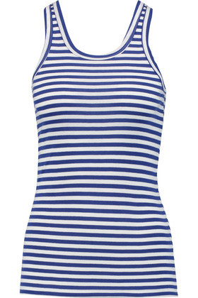Striped Cotton Jersey Tank Blue - pattern: horizontal stripes; sleeve style: sleeveless; style: vest top; secondary colour: white; predominant colour: navy; occasions: casual, holiday; length: standard; neckline: scoop; fibres: cotton - 100%; fit: body skimming; sleeve length: sleeveless; texture group: jersey - clingy; pattern type: fabric; pattern size: big & busy (top); season: s/s 2016; wardrobe: basic