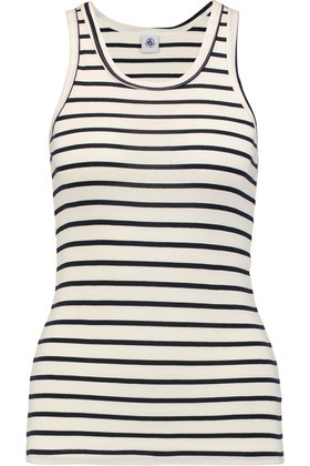Striped Cotton Jersey Tank Midnight Blue - sleeve style: standard vest straps/shoulder straps; pattern: horizontal stripes; length: below the bottom; style: vest top; secondary colour: ivory/cream; predominant colour: navy; occasions: casual, holiday; neckline: scoop; fibres: cotton - 100%; fit: body skimming; sleeve length: sleeveless; texture group: jersey - clingy; pattern type: fabric; pattern size: big & busy (top); season: s/s 2016