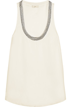 Hamisi Embellished Silk Georgette Top Ivory - pattern: plain; sleeve style: sleeveless; length: below the bottom; style: vest top; predominant colour: ivory/cream; secondary colour: silver; occasions: casual; neckline: scoop; fibres: silk - 100%; fit: straight cut; sleeve length: sleeveless; texture group: silky - light; pattern type: fabric; embellishment: beading; season: s/s 2016; wardrobe: highlight