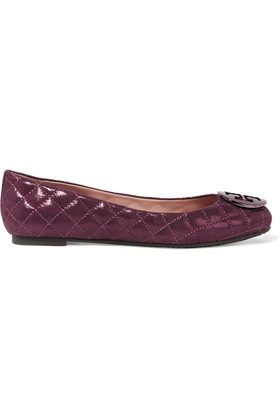 Quinn Metallic Quilted Suede Ballet Flats Burgundy - predominant colour: burgundy; occasions: casual, creative work; material: leather; heel height: flat; embellishment: quilted; toe: round toe; style: ballerinas / pumps; finish: patent; pattern: plain; season: s/s 2016; wardrobe: highlight