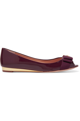 Trudy Bow Embellished Patent Leather Ballet Flats Claret - predominant colour: burgundy; occasions: casual, creative work; material: leather; heel height: flat; toe: open toe/peeptoe; style: ballerinas / pumps; finish: patent; pattern: plain; embellishment: bow; season: s/s 2016; wardrobe: highlight