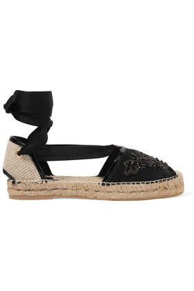 Adriana Embellished Satin Espadrilles Black - predominant colour: black; occasions: casual, holiday; material: fabric; heel height: flat; embellishment: jewels/stone; ankle detail: ankle tie; toe: round toe; finish: plain; pattern: plain; style: espadrilles; shoe detail: platform; season: s/s 2016