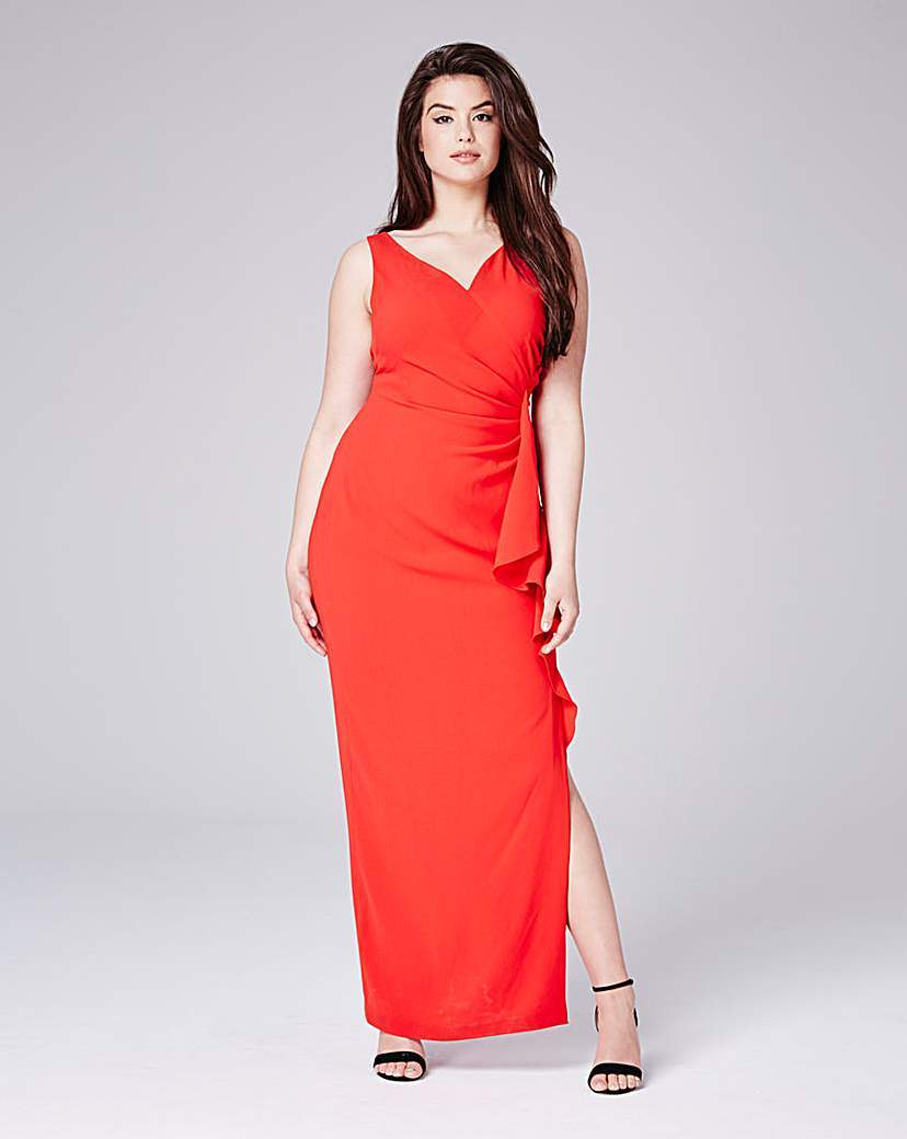 Coast Finale Frill Maxi - neckline: v-neck; pattern: plain; sleeve style: sleeveless; style: maxi dress; length: ankle length; predominant colour: bright orange; occasions: evening; fit: body skimming; sleeve length: sleeveless; pattern type: fabric; texture group: jersey - stretchy/drapey; fibres: viscose/rayon - mix; season: s/s 2016; wardrobe: event