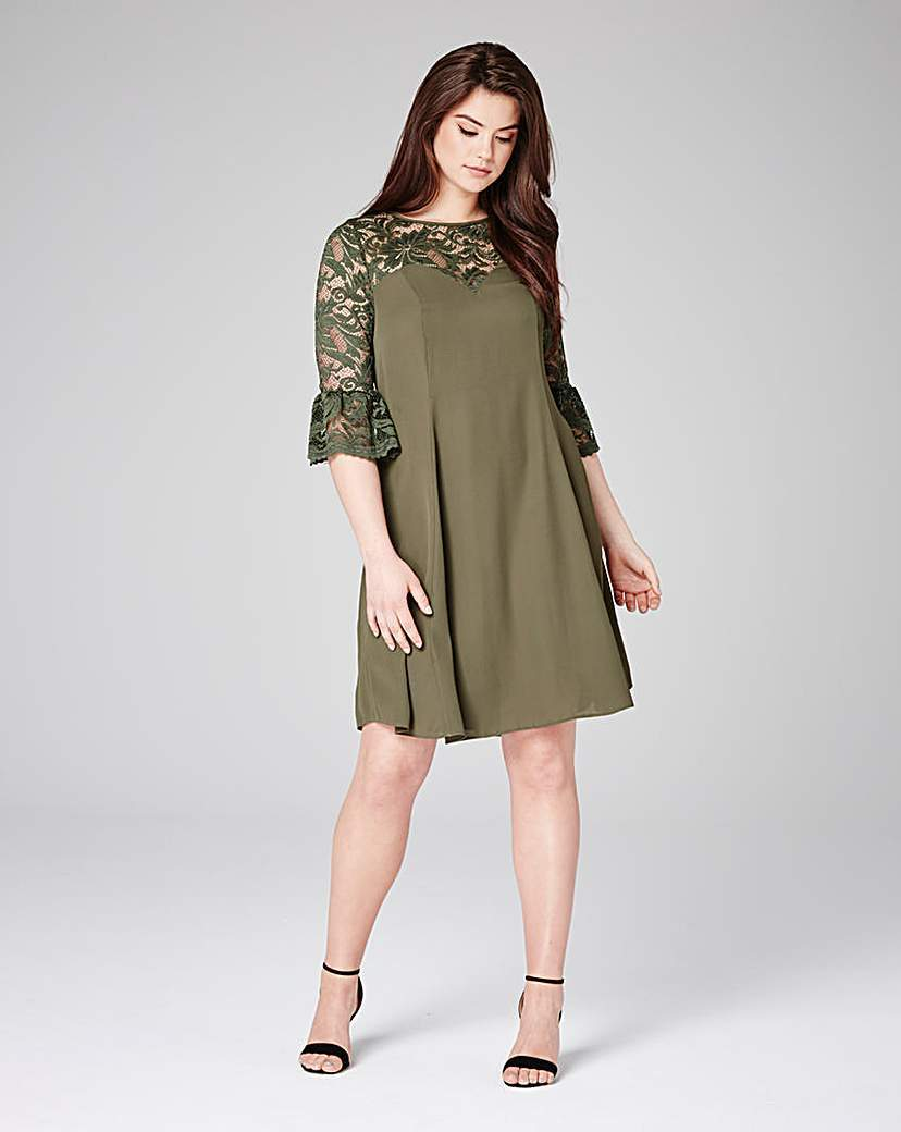 Grazia Lace Detail Skater Dress - sleeve style: bell sleeve; pattern: plain; predominant colour: khaki; occasions: evening; length: just above the knee; fit: fitted at waist & bust; style: fit & flare; fibres: polyester/polyamide - 100%; neckline: crew; sleeve length: 3/4 length; pattern type: fabric; texture group: jersey - stretchy/drapey; embellishment: lace; shoulder detail: sheer at shoulder; season: s/s 2016; wardrobe: event; embellishment location: shoulder, sleeve/cuff