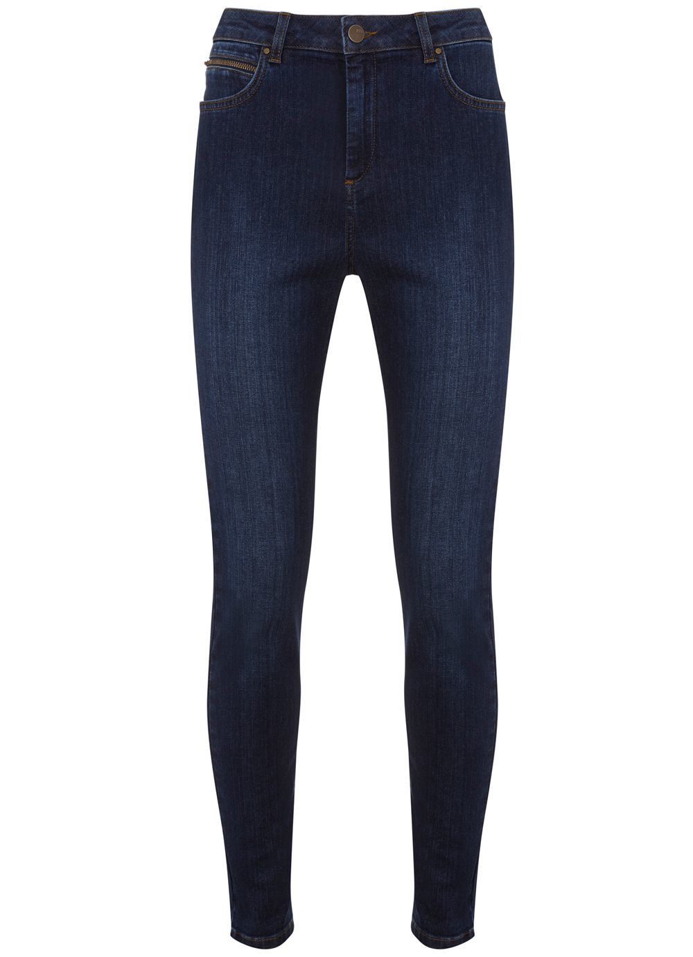 Indigo Lincoln Zip Skinny Jean, Blue - style: skinny leg; length: standard; pattern: plain; pocket detail: traditional 5 pocket; waist: mid/regular rise; predominant colour: navy; occasions: casual; fibres: cotton - stretch; texture group: denim; pattern type: fabric; season: s/s 2016; wardrobe: basic