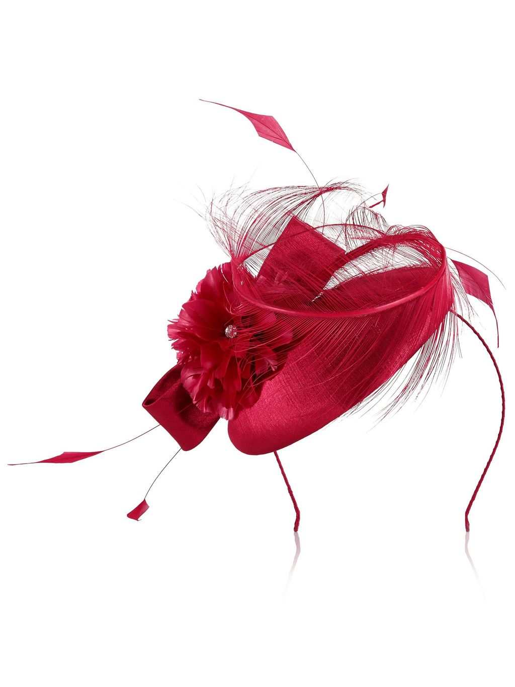 Feather Flower Pill Box, Pink - predominant colour: true red; occasions: occasion; type of pattern: standard; style: fascinator; size: standard; material: fabric; pattern: plain; embellishment: feather; season: s/s 2016