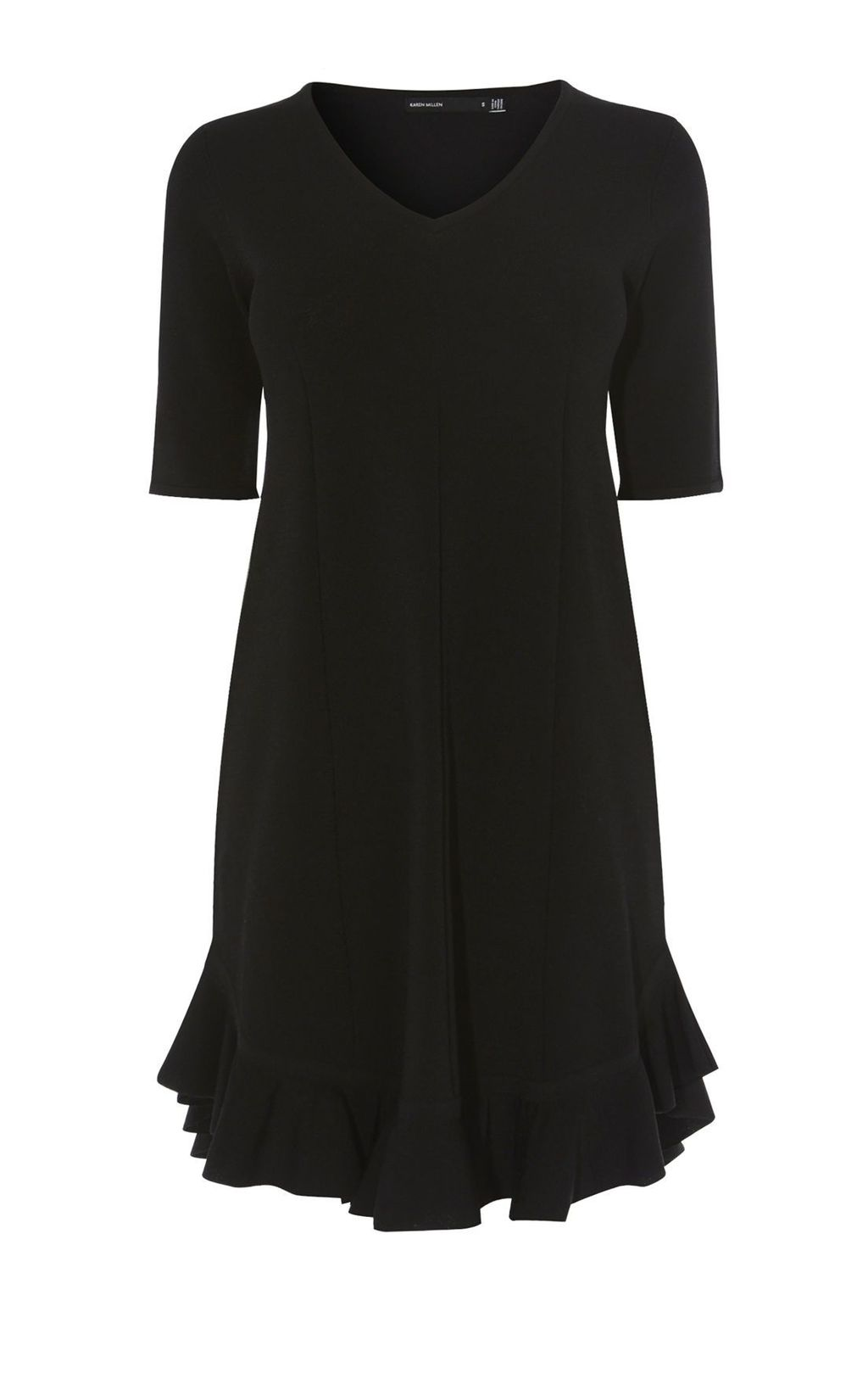 Frill Hem Dress, Black - style: shift; neckline: v-neck; pattern: plain; hip detail: draws attention to hips; predominant colour: black; occasions: evening; length: on the knee; fit: body skimming; sleeve length: short sleeve; sleeve style: standard; pattern type: fabric; texture group: jersey - stretchy/drapey; fibres: viscose/rayon - mix; season: s/s 2016; wardrobe: event