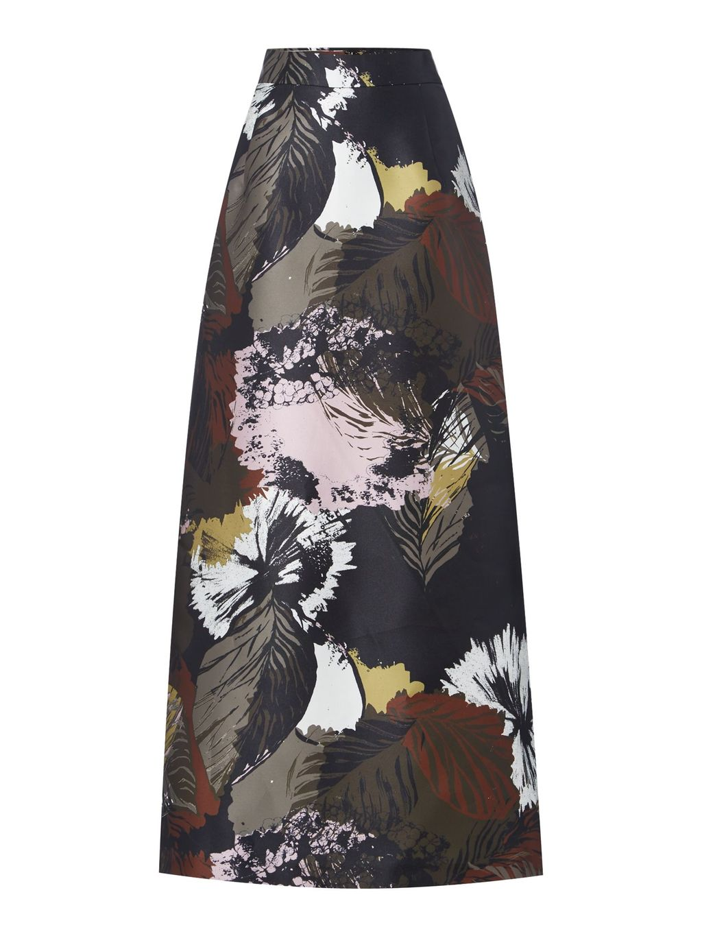 Bene Floral Maxi Skirt, Multi Coloured - length: ankle length; fit: body skimming; waist: mid/regular rise; secondary colour: white; predominant colour: charcoal; occasions: evening; style: maxi skirt; fibres: polyester/polyamide - 100%; texture group: structured shiny - satin/tafetta/silk etc.; pattern type: fabric; pattern: florals; pattern size: big & busy (bottom); multicoloured: multicoloured; season: s/s 2016; wardrobe: event