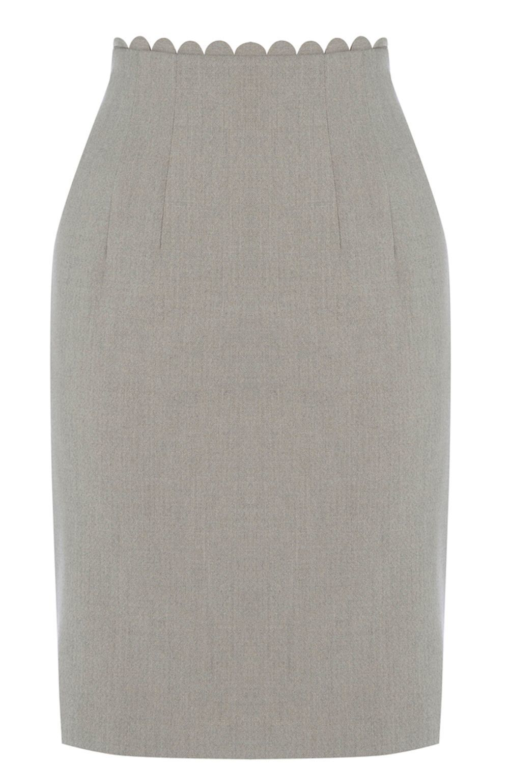 Clara Workwear Skirt, Grey - pattern: plain; style: pencil; fit: tailored/fitted; waist: mid/regular rise; predominant colour: light grey; occasions: work; length: just above the knee; fibres: polyester/polyamide - stretch; pattern type: fabric; texture group: woven light midweight; season: s/s 2016; wardrobe: basic