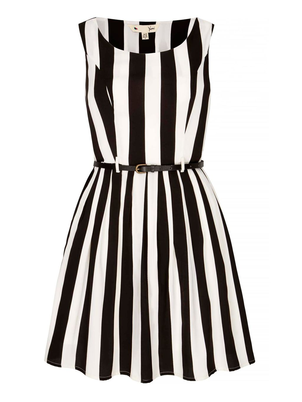 Stripe Print Skater Dress, Multi Coloured - length: mid thigh; neckline: round neck; sleeve style: sleeveless; pattern: striped; secondary colour: white; predominant colour: black; occasions: evening; fit: fitted at waist & bust; style: fit & flare; fibres: polyester/polyamide - 100%; sleeve length: sleeveless; trends: monochrome, graphic stripes; pattern type: fabric; pattern size: light/subtle; texture group: other - light to midweight; season: s/s 2016; wardrobe: event