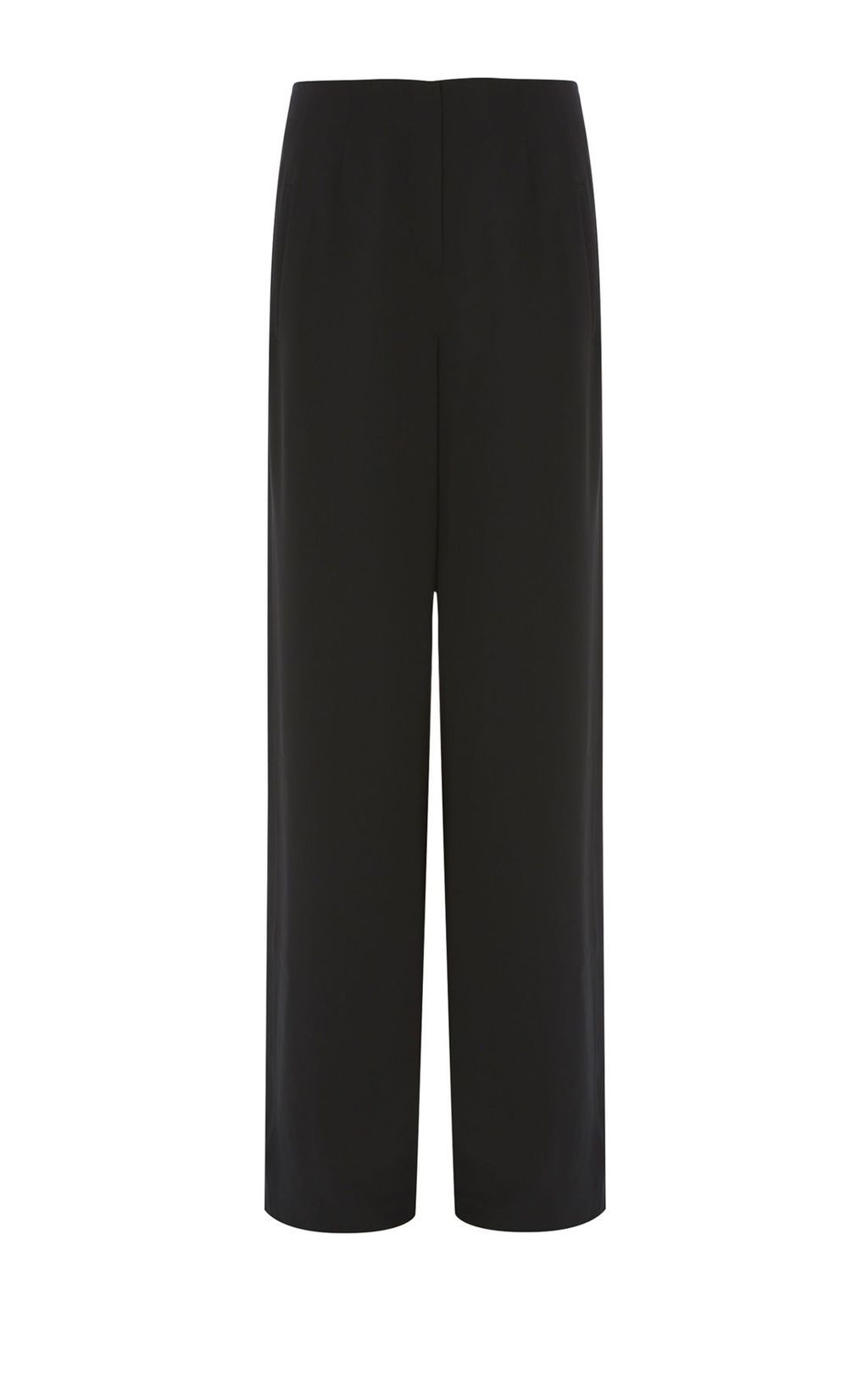 Wide Leg Trousers, Black - length: standard; pattern: plain; style: palazzo; waist: mid/regular rise; predominant colour: black; occasions: work; fibres: polyester/polyamide - 100%; texture group: crepes; fit: wide leg; pattern type: fabric; season: s/s 2016