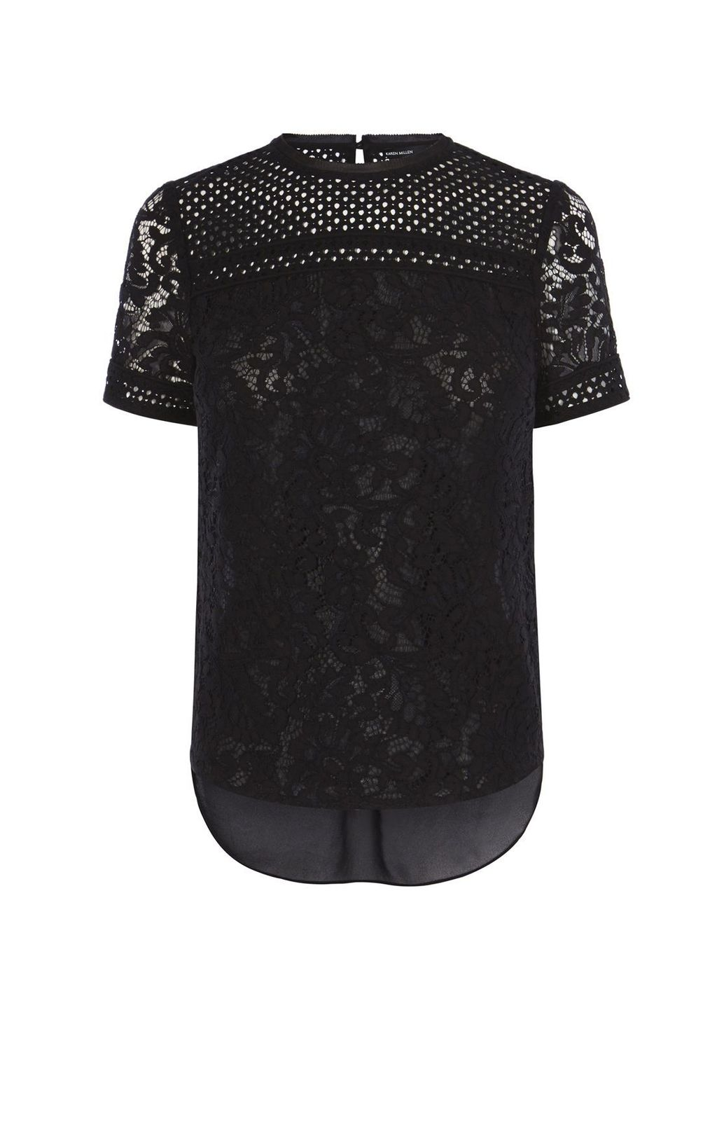 Lace Panel T Shirt, Black - style: t-shirt; predominant colour: black; occasions: evening; length: standard; fibres: polyester/polyamide - mix; fit: body skimming; neckline: crew; sleeve length: short sleeve; sleeve style: standard; texture group: lace; pattern type: fabric; pattern size: standard; pattern: patterned/print; season: s/s 2016
