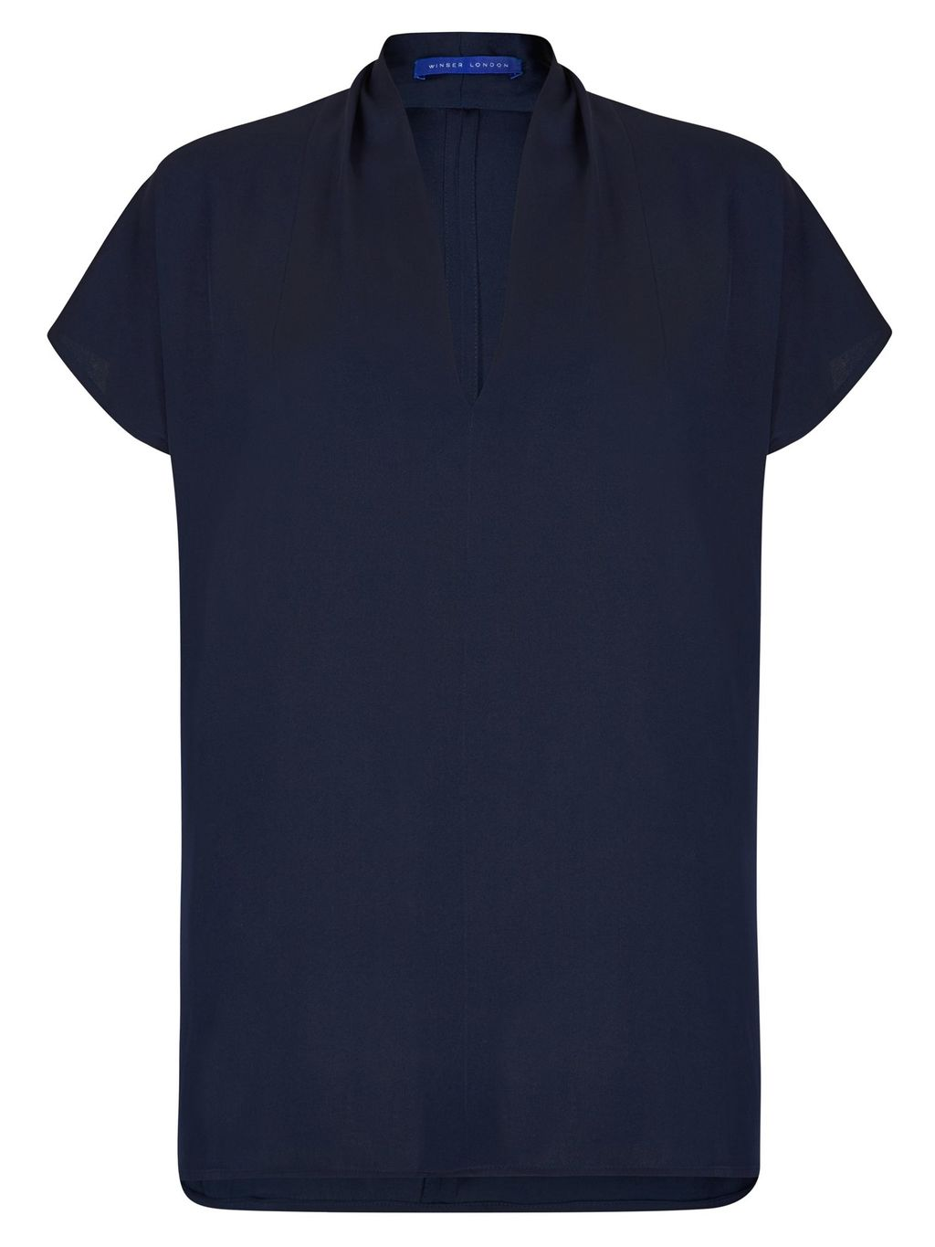 V Neck Silk Top, Navy - neckline: v-neck; pattern: plain; predominant colour: navy; occasions: casual; length: standard; style: top; fibres: silk - 100%; fit: body skimming; sleeve length: short sleeve; sleeve style: standard; texture group: silky - light; pattern type: fabric; season: s/s 2016; wardrobe: basic