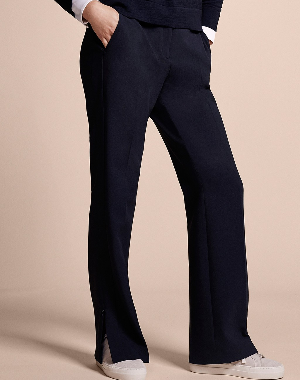 Side Stripe Trouser Black - length: standard; pattern: pinstripe; waist: mid/regular rise; predominant colour: navy; fibres: polyester/polyamide - 100%; texture group: crepes; fit: straight leg; pattern type: fabric; style: standard; occasions: creative work; pattern size: light/subtle (bottom); season: a/w 2015; wardrobe: highlight