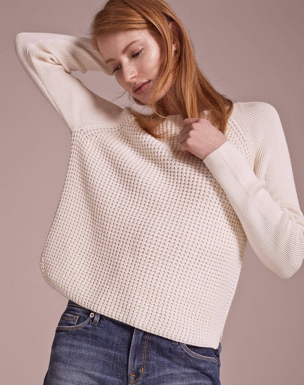 Textured Stitch Jumper Soft White - pattern: plain; style: standard; predominant colour: ivory/cream; occasions: casual; length: standard; fibres: cotton - mix; fit: loose; neckline: crew; sleeve length: long sleeve; sleeve style: standard; texture group: knits/crochet; pattern type: fabric; season: a/w 2015; wardrobe: basic